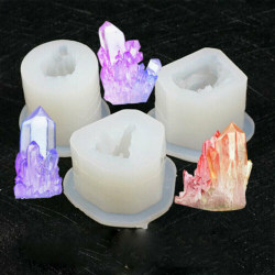 Silikonform 3D Crystal Cluster Stone smycken gör mögelverktyg B