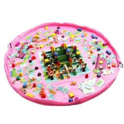 Stor bärbar lekmatta för barnpåse Leksaker Organizer Rug Box Pink