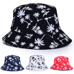 Unisex Bucket Floral Hat Summer Beach Travel Wide Brim Sun Cap black