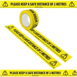 2st Social Distancing Floor Tape Yellow Sign Säkerhetsavstånd 2pcs