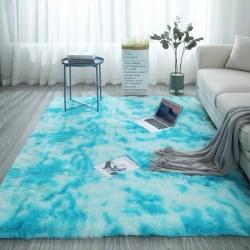 Tvättbar mjuk anti-slip matta Fuskpälsmatta fluffig rumsmatta Ny sky blue 60*160cm
