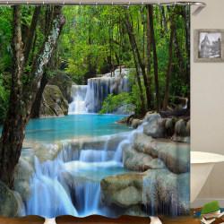 3D vattenfall landskap tryck vattentät dusch gardiner badrum 180*200cm