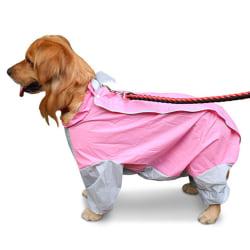 Vattentät Stor Hund Liten Medium Regnrock Jumpsuit Kläder Grey-Yellow 30