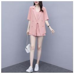 Kvinnorsats 3-delad halvärmad Cami Blazers Jacket Outfit Suits pink S
