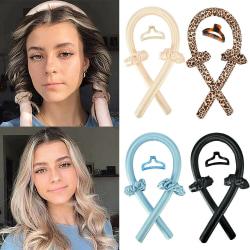 Kvinnor Flickor Ribbon Hair Curler / Heatless Curling Rod / Headband Blue