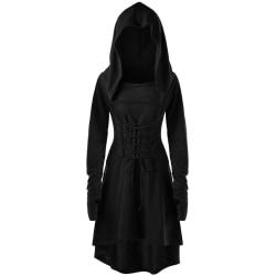Kvinnor Halloween medeltida viktoriansk häxklänning Party-10 Black S