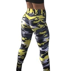 Kvinnors hög midja leggings fitness sport träning gym yoga byxor yellow S