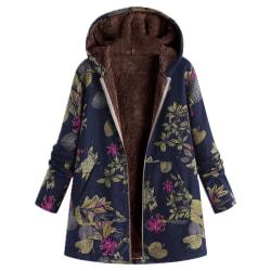Kvinnor långärmad kappa dam damer vinter varm outwear lång Blue M