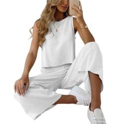 Kvinnorsats 2-delad ärmlös fritidskläder Fritidsdräkter sommar white L