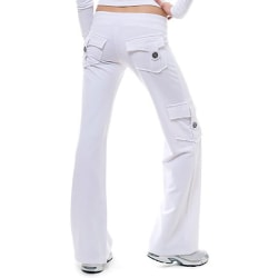 Cargo Byxor för kvinnor Loose Casual Sports Wide Leg Work Pants white XL