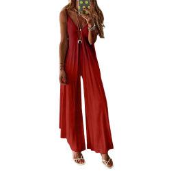 Dam Gradient Sling Jumpsuit Casual Summer Wide Leg Playsuit Red XL