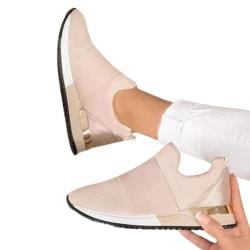 Kvinnors damer mode stickade träningsskor sneakers med låg klack Pink 39