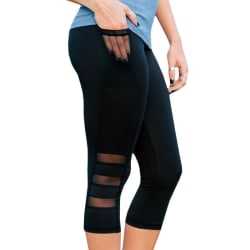 Womens Mesh Workout Sports Gym Comfy Yoga Leggings 3/4 Byxor black L