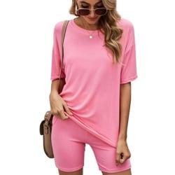 Kvinnors solid kortärmad 2st-skjortor + yogashorts Fritidsdräkt Pink L