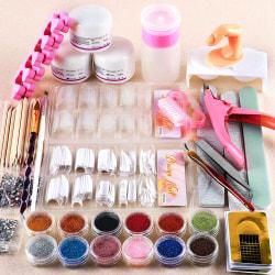 12st akryl nagel konst set glitter tips verktygssats one size