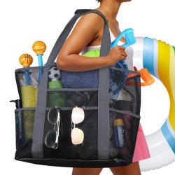 8 ficka sommar stor strandväska mesh slitstark strandväska vattenproo Black