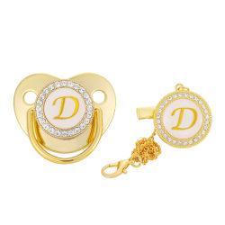 Lyxigt guld initial bokstav A Bling napp med kedja D