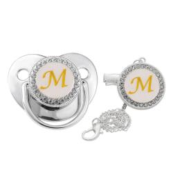 silver initial letter bling baby napp med kedjeklämma M