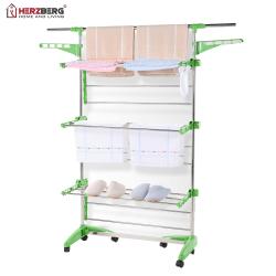 Herzberg HG-5015: Klädställning med hjul - Grön