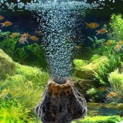 Akvarium Volcano Shape & Air Bubble Stone Oxygen Pump Fish T