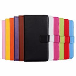 Plånboksfodral Äkta Skinn Moto E7 Plus / G9 Play - fler färger Svart