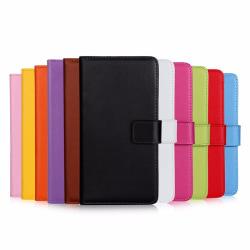 Plånboksfodral Äkta Skinn Moto G6 Plus - fler färger Svart