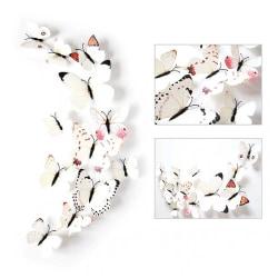 12-pack Fjärilar 3D Väggdekal Väggdekor Väggdekoration Vit vit