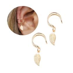 2-Pack Fake Helix Piercing Öron Örhänge Ear Cuff med Fjäder Guld guld
