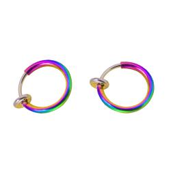 2-pack Flerfärgad Fake Piercing Öron Läpp Näsring Septum flerfärgad