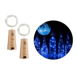 2-pack LED Ljusslinga Lampor Belysning för Flaskor Dekoration blå