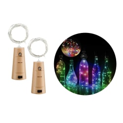 2-pack LED Ljusslinga Lampor Belysning för Flaskor Dekoration flerfärgad