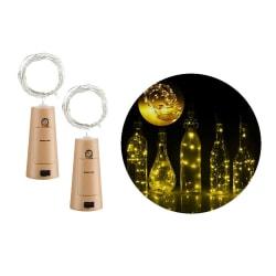 2-pack LED Ljusslinga Lampor Belysning för Flaskor Dekoration gul