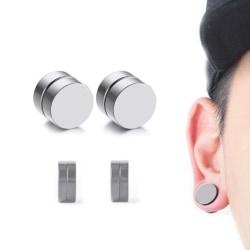 2-pack Silver Magnetisk Fake Piercing Öron Töjning Plug silver