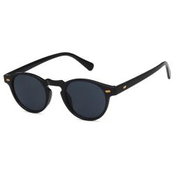 Svarta Runda Ovala Solglasögon Mörkt Glas svart