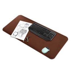 Skrivbordsunderlägg 80x40cm PU Skinn Läder Mörkbrun brun