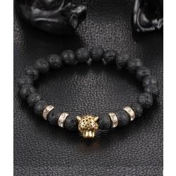 Trendigt Armband Courage Leopard Guld Svarta Lavastenar guld