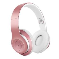 Trådlösa Super Bass Bluetooth Stereo Over-Ear Hörlurar 3.5mm AUX rosa