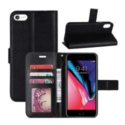 iPhone 6/7/8/SE Plånboksfodral Läder Skinn Fodral Svart svart