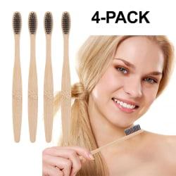 4-pack Ekologisk Tandborste av Bambu med Aktivt Kol Tandblekning brun