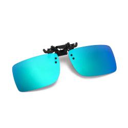Clip-on Solglasögon Blå Grön Spegelglas för befintliga Glasögon blå