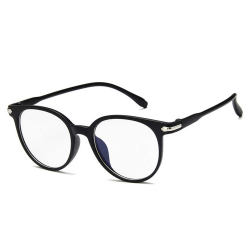 Mattsvarta Runda Glasögon Klart Glas utan Styrka Klarglas svart