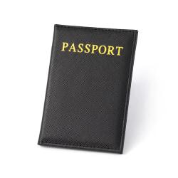 Passfodral Passhållare Svart Skinn Läder Guld Konstläder svart