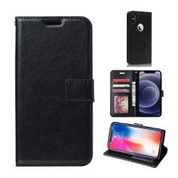 iPhone X/XS Plånboksfodral Svart Läder Skinn Fodral svart
