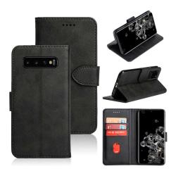 Samsung Galaxy S10 Plus Plånboksfodral Läder Skinn Fodral Svart svart