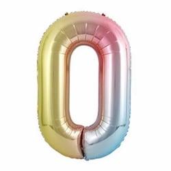 Stor Sifferballong Flerfärgad Regnbåge Födelsedag Fest 102cm 0 flerfärgad