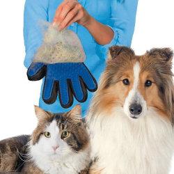 Borsthandske för Hund Katt Husdjur Djur Päls Borste blå