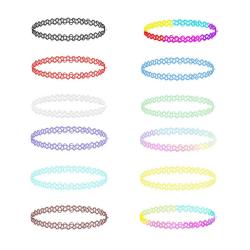 12-pack Trendiga Färgglada Choker Halsband Stretch Spets Lace flerfärgad