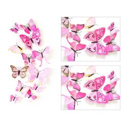 12-pack Fjärilar 3D Väggdekal Väggdekor Väggdekoration Rosa rosa