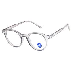 Runda Grå Datorglasögon med Blåljusfilter utan Styrka transparent
