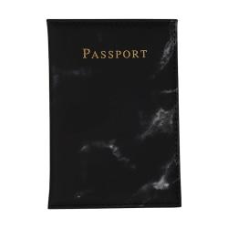 Passfodral Passhållare Svart Marmor Skinn Läder Guld svart